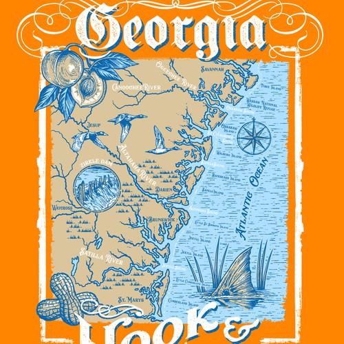 Fish t-shirt with the title 'Hook & Trill Georgia maps'