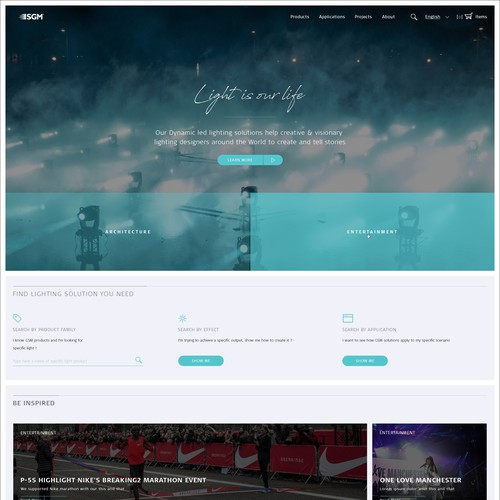 Entertainment website with the title 'Flat design for Lighting company'