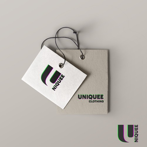 Glitch logo with the title 'Unique logo concept for clothing brand Uniquee'