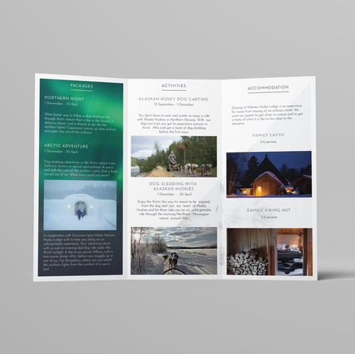Lodge design with the title 'Holmen Husky Lodge Brochure'