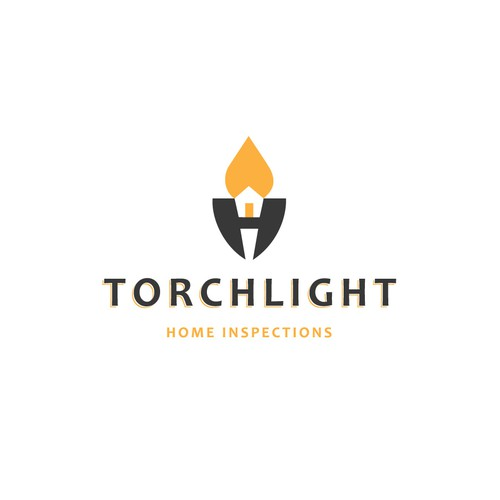 Torch logo with the title 'TORCHLIGHT - Home Inspections - Logo Design'