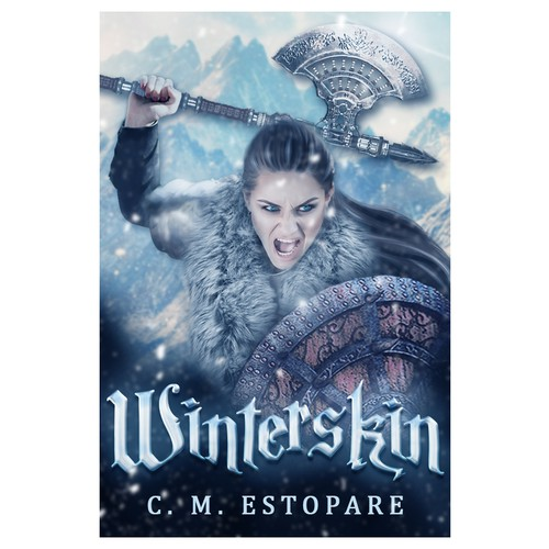 Viking book cover with the title 'Winterskin cover design '