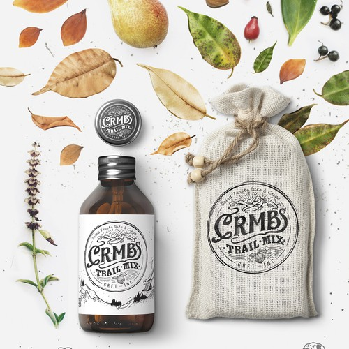 Hand-drawn packaging with the title 'C.R.M.B.S - Brand Identity'