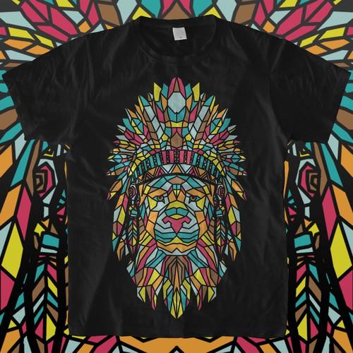 Geometric t-shirt with the title 'Lion Geometric'