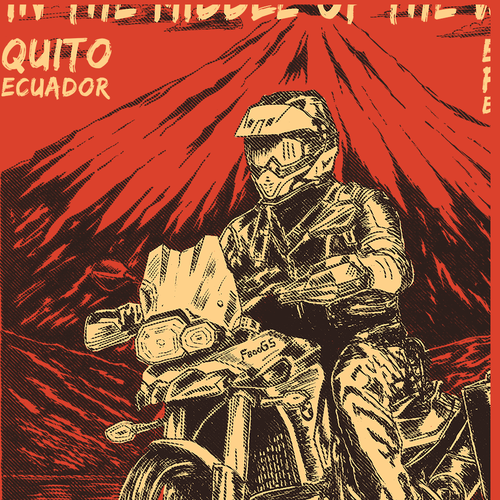 Motorcycle design with the title 'Motorcycle Adventure T-Shirt for Ecuador Freedom Bike Rental'