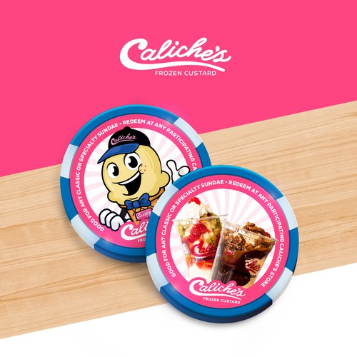 Ice cream shop design with the title 'Caliches Poker Chips'