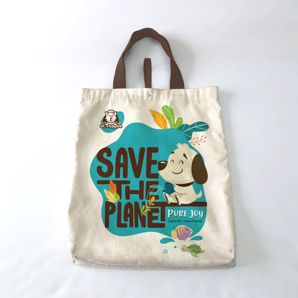Pet artwork with the title 'Save The Planet Tote Bag'