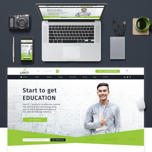Landing page website with the title 'Landing page online education '