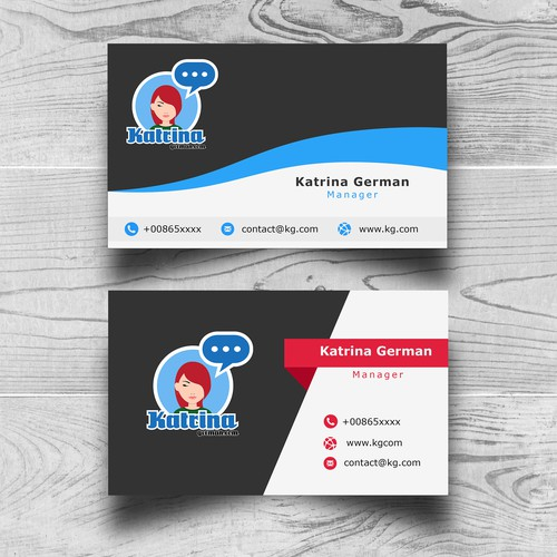 Name card design with the title 'Consept, Woman Face'