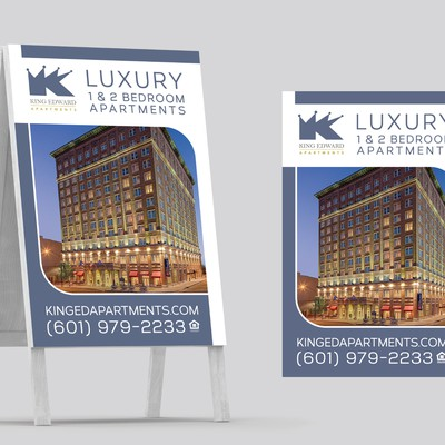 Sandwich Board design for King Edward Apartments