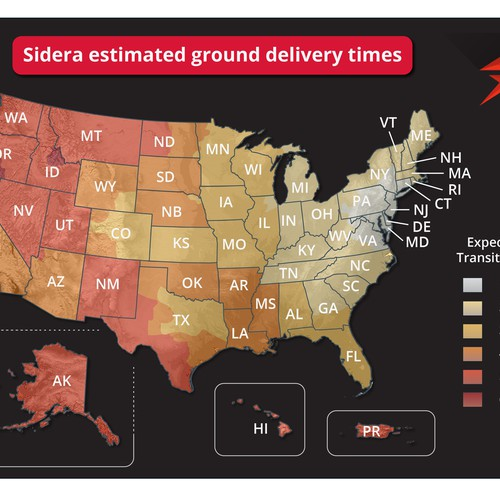 Map illustration with the title 'Infographic map for Sidera'