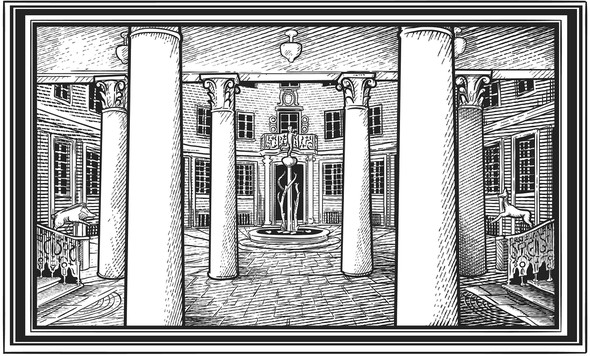 Ink illustration with the title 'Panoramic Engraving'