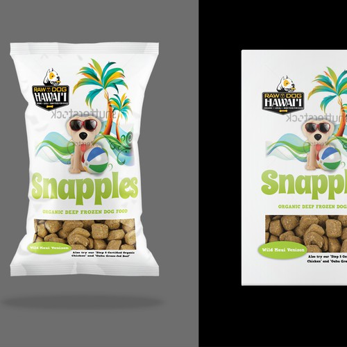 Animal packaging with the title 'Package Raw Dog food'