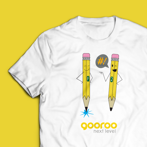 Pencil design with the title 'Gooroo T Shirt Design'