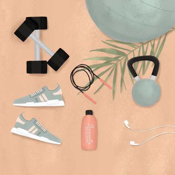 Gym illustration with the title 'A fitness flatlay'