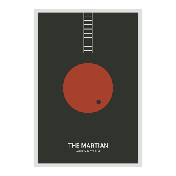 Mars design with the title 'The Martian - Minimalist Movie Poster'