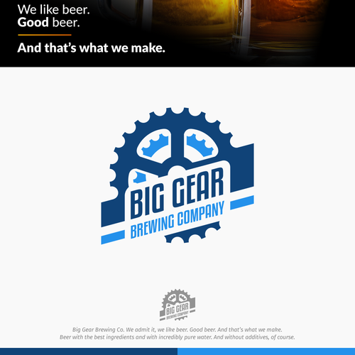 Dark blue logo with the title 'Logo concept for Big Gear Brewing'