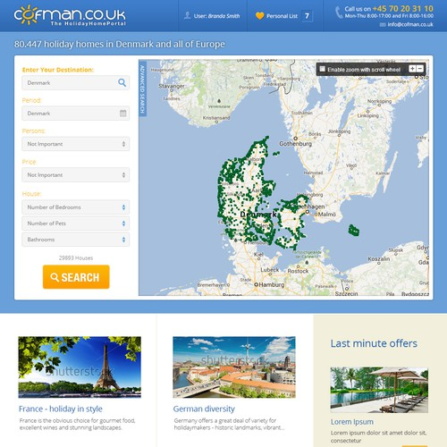 Real estate website with the title 'Responsive website design for Cofman'