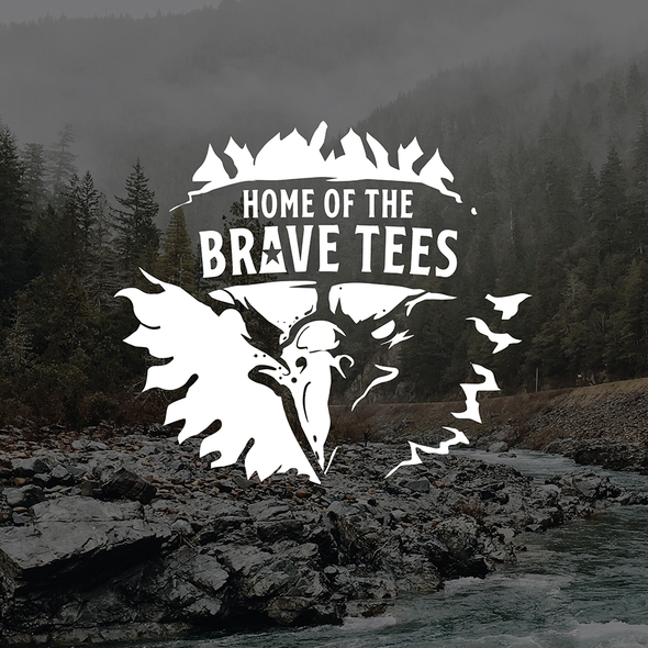 American eagle logo with the title 'HOME OF THE BRAVE TEES'