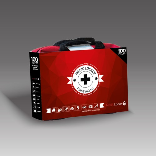 Icon packaging with the title 'Bold Packaging for First Aid Kit'