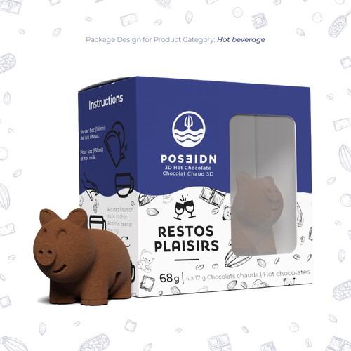 Piggy design with the title 'Packaging Design for POSEIDN'