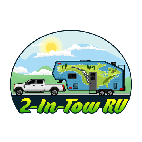 Truck artwork with the title 'illustrations contests illustrated fun modern cartoon style logo couple traveling'