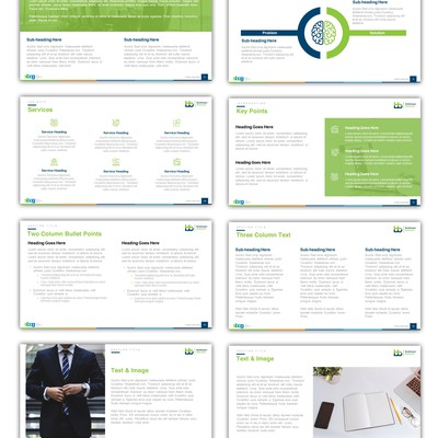 A multi-theme PowerPoint template design