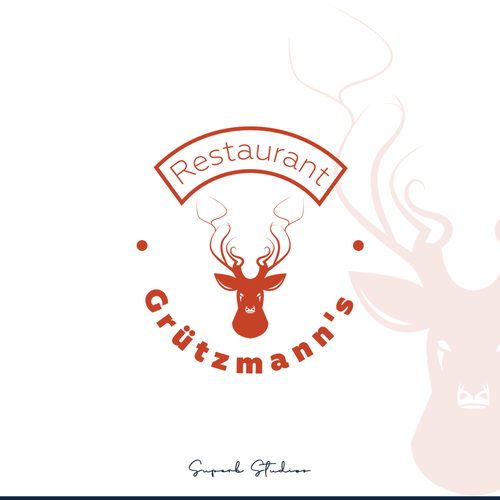 Menu logo with the title 'Deer & Pig Modern Vintage Concept.'