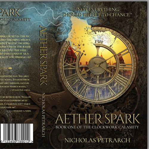 Steampunk book cover with the title 'Aether Spark Book Cover'