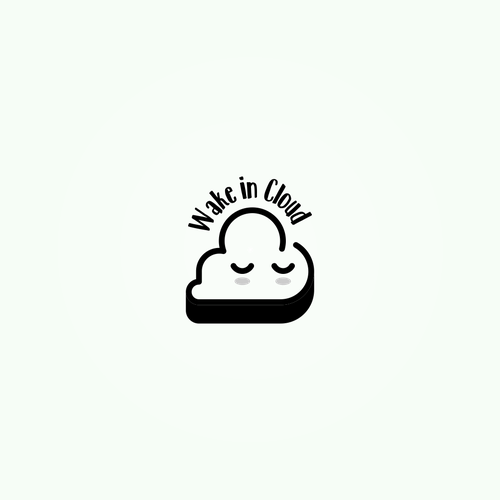 Bed logo with the title 'Wake in Cloud - a cute logo'