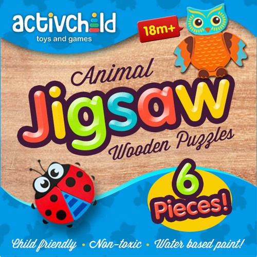 Game packaging with the title 'Children's Animal Wooden Jigsaw Puzzles Packaging Design'