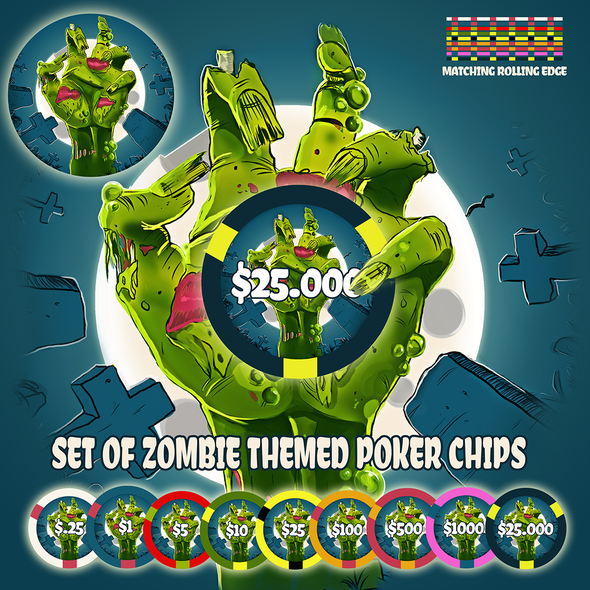 Zombie artwork with the title 'Set of zombie themed poker chips'