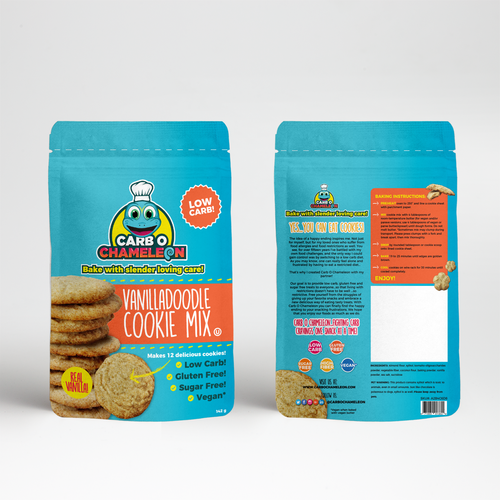Biscuit packaging with the title 'Fun concept for cookie mix'