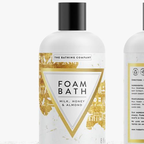 Minimalist label with the title 'Foam Bath label'