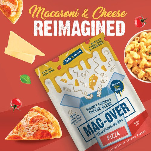 Sauce design with the title 'Packaging range for Mac-Over Gourmet Powdered Cheese Blend '