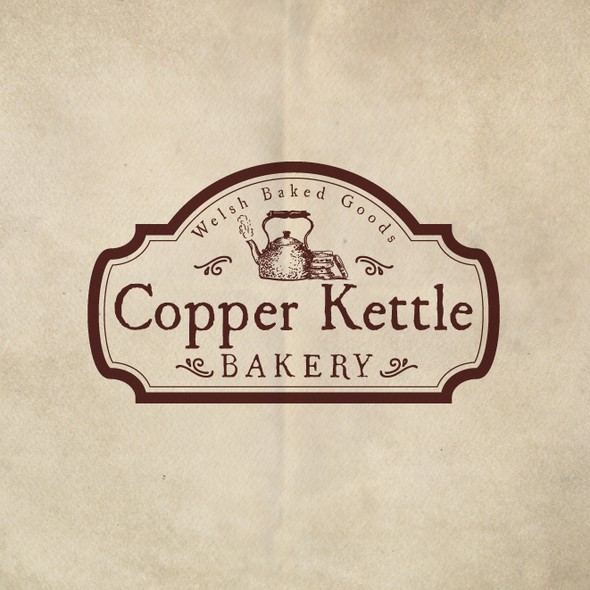 Sepia design with the title 'Logo for Copper Kettle Bakery'