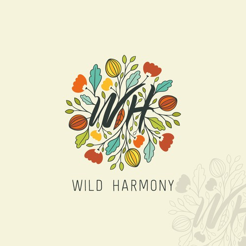 Nature logo with the title 'Hand-drawn wild mandala'