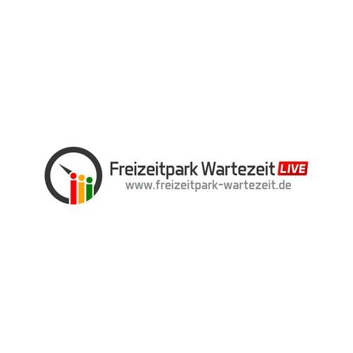 Digital art logo with the title 'Logotype Freizeitpark Wartezeit LIVE'