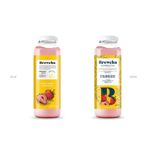 Beverage label with the title 'Kombucha label redesign'