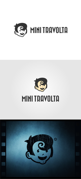 Mini logo with the title 'MiniTravolta - Logo design for music label / film production'