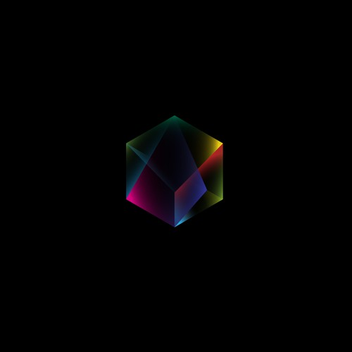 Prism design with the title 'Colourful Geometric Logo'