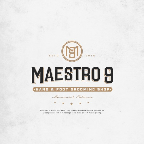 Pet grooming logo with the title 'Maestro 9 - Hand & Foot Grooming Shop'