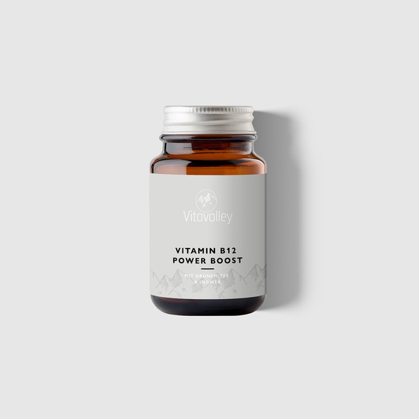 Vitamin packaging with the title 'Packaging design for a vitamin supplement'