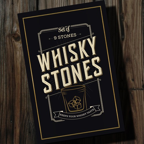 Whiskey packaging with the title 'Box design for Whiskey stones'