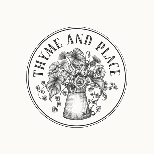 Plant logo with the title 'Logo design for garden shop Thyme and Place'