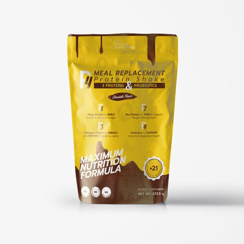 Brown packaging with the title 'Protein Shake Package'
