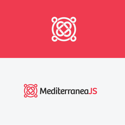 Appealing logo with the title 'Craft a logo for a JavaScript conference, mediterranean style'