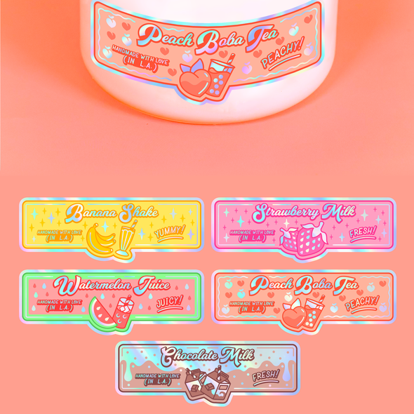 Kawaii design with the title 'candle labels'