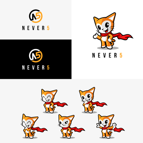 Cute cat logo with the title 'never5'