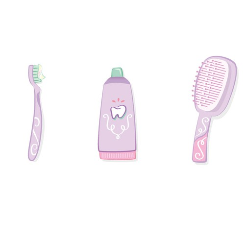 Pink illustration with the title 'Tooth care'